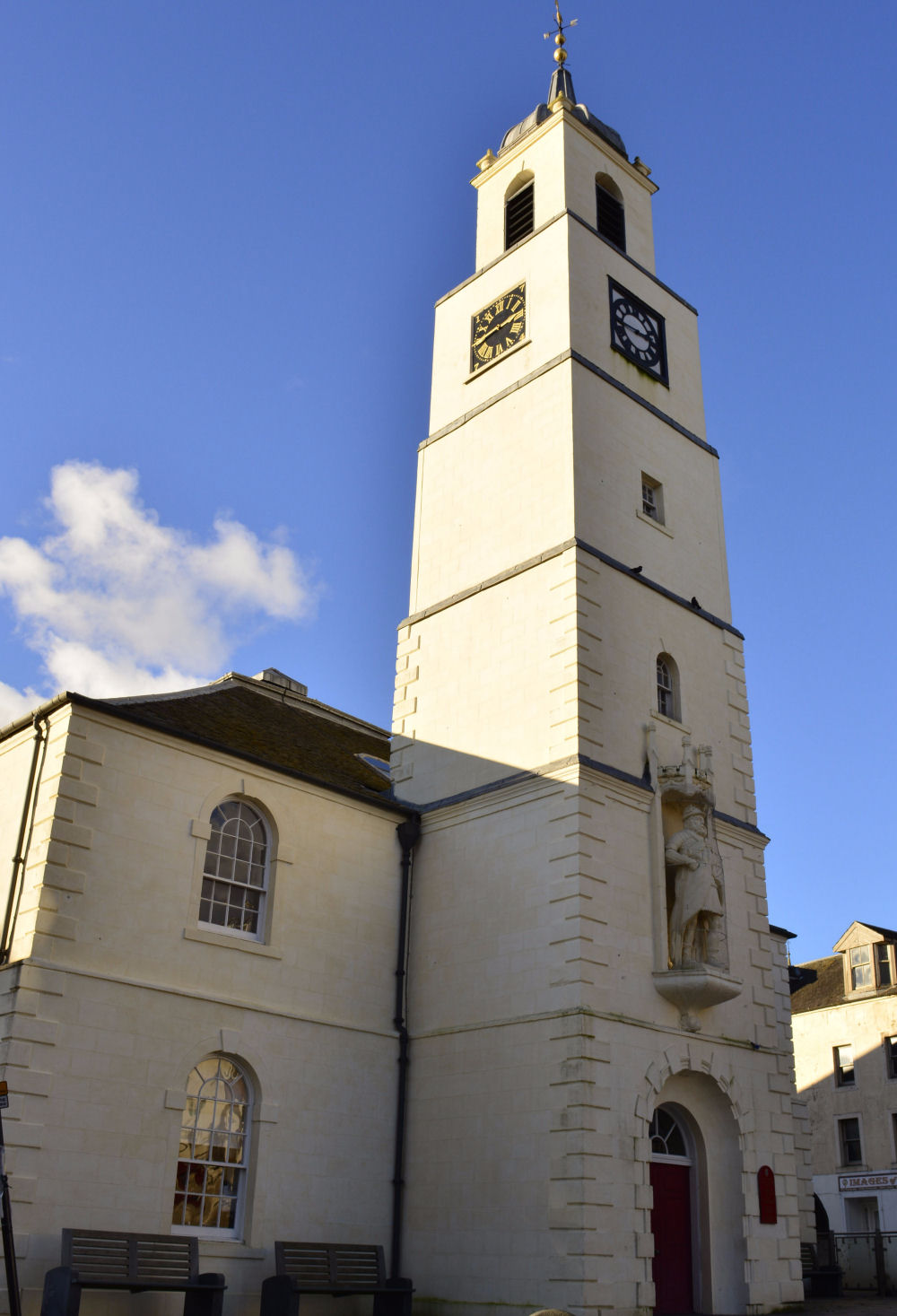 Photo of St Nicholas church steeple, Lanark